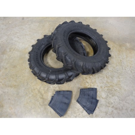 TWO New 7.50-16 BKT AS-504 Tractor Lug Tires 8 ply WITH Tubes