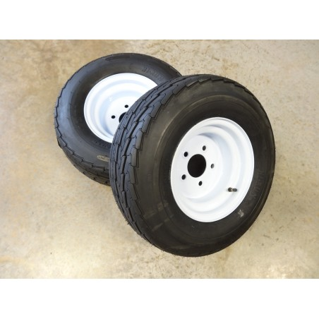 "TWO New 20.5X8.0-10 Hi-Run SU03 Trailer Tires 10 ply on 5 Hole Wheels with 4.5"" bolt circle"