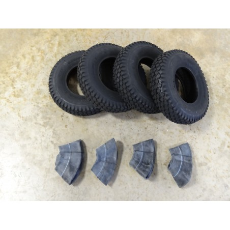 FOUR 4.10/3.50-6 Air-Loc Stud Tread Tires 4 ply with TR87 bent stem Tubes