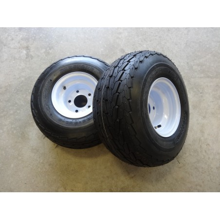 TWO 18.5X8.50-8 Deestone D268 Trailer Tires 6 ply on 5 Hole Wheels 18.5X8.5-8