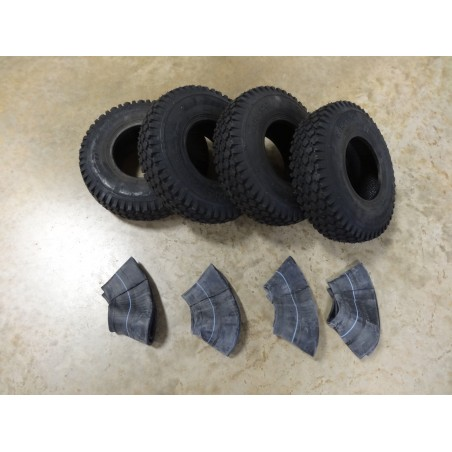 FOUR 4.10/3.50-5 Air-Loc Stud Tread Tires 4 ply with TR87 bent stem Tubes