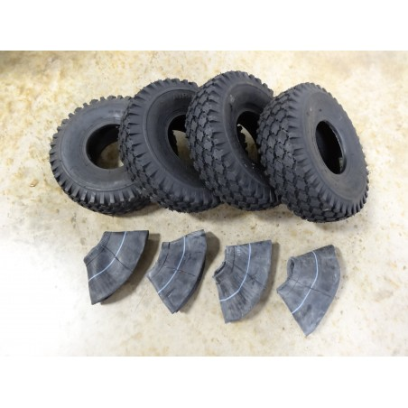 FOUR 4.10/3.50-4 Air-Loc Stud Tread Tires 4 ply with TR87 bent stem Tubes