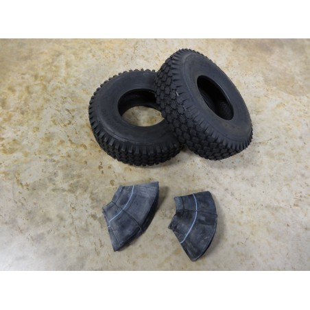 TWO 4.10/3.50-5 Air-Loc Stud Tread Tires 4 ply with TR87 bent stem Tubes
