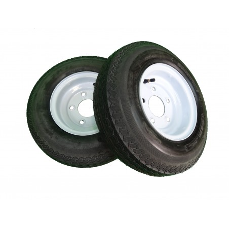 TWO 4.80-8 Deestone D901 Trailer Tires 6 ply on 5 Hole White Wheels