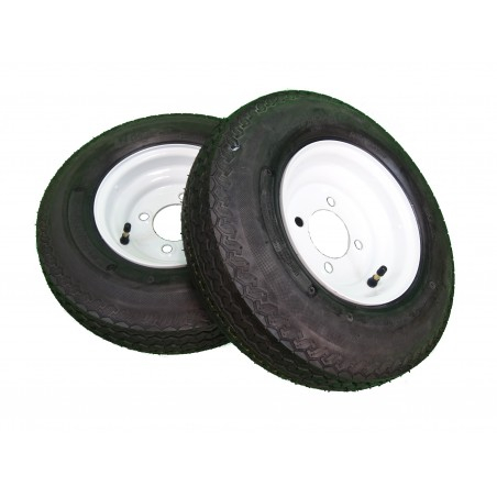 TWO 4.80-8 Deestone D901 Trailer Tires 6 ply on 4 Hole White Wheels