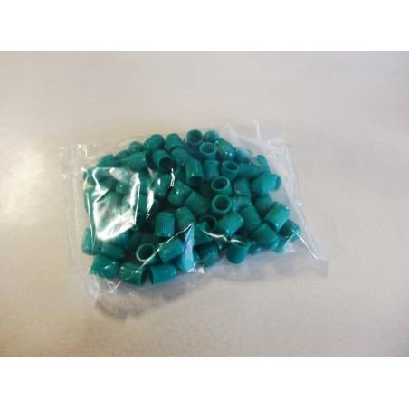 100 GREEN Tire Valve Stem Plastic Caps (indicates Nitrogen filled)