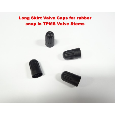 FOUR Long Skirt Tire Valve Caps for Snap In TPMS Stems used by many auto makers