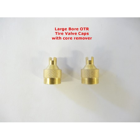 TWO Large Bore Tire Valve Caps with Core Remover OTR Road Graders Dirt Scrapers AG Flotation