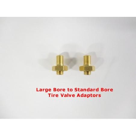 TWO Large Bore to Standard Bore Tire Valve Adaptors OTR Road Graders Dirt Scrapers AG Flotation