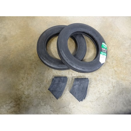 TWO 4.00-15 Harvest King Field Pro F-2 Tri-Rib Front Tractor Tires WITH tubes