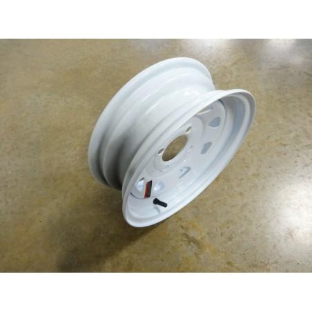 "12"" x 4"" White Spoke Trailer Wheel 4 lug on 4"" bolt circle for 4.80-12, 5.30-12, more"