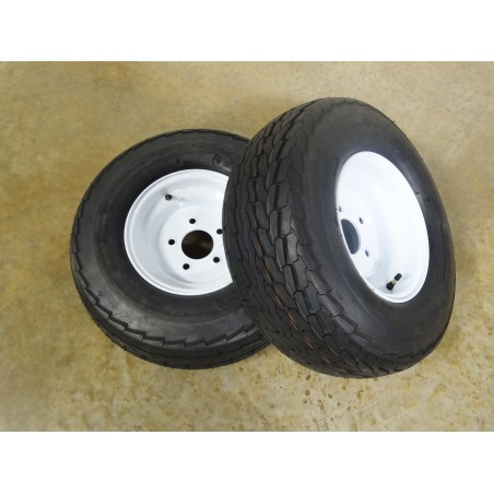 "TWO New 20.5X8.0-10 Deestone Trailer Tires 12 PLY on 5 Hole Wheels with 4.5"" bolt circle"